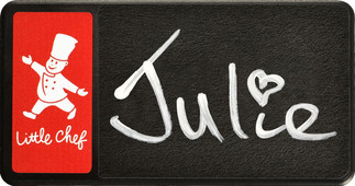 Chalkboard name badges - Black border and red background | www.namebadgesinternational.co.uk